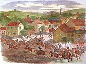 OHIO: MORGAN'S RAIDERS 1863.John Hunt Morgan and his Confederate raiders entering the town of Washington, Ohio, July 1863: contemporary wood engraving...