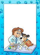 Frame with sick dog at veterinarian _ color illustration.