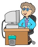 Cartoon office worker _ isolated illustration.