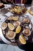 FRANCE: OYSTERS.Oysters served at a restaurant on the Croisette at Cannes, France.
