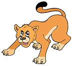 Cartoon puma on white background _ isolated illustration.