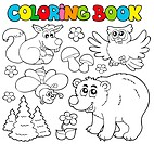 Coloring book with forest animals 1 _ isolated illustration.