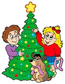 Two kids decorating Christmas tree _ color illustration.