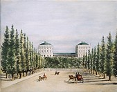 WASHINGTON, D.C.: CAPITOL.The west front of the Capitol at Washington, D.C. with the Jefferson poplars: watercolor, before 1814, attributed to Benjami...