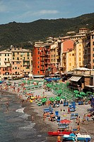 Tourists on the beach, Camogli, Liguria, Italy