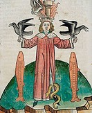 King Holding Birds With Serpant & Fish Beside Him From Buch Der Weisheit Der Alten Weisen 1483 1483 Artist Unknown Illustration Newberry Library, Chic...