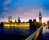 England, London, Houses of Parliament, and Big Ben, at dusk