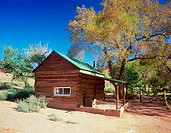 Log cabin in a forest, Johnson Cabin, Glen Canyon National Recreation Area, Arizona, USA