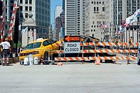 Bridge is closed due to a taxi colliding with a car burned beyond recognition, Michigan Avenue Bridge, Michigan Avenue, Chicago, Illinois, USA
