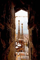 Spain, Barcelona, view of Sagrada Familia from spiral stairs