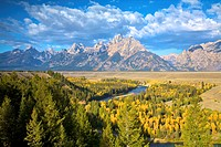 View of Grand Teton Range from Snake River Overlook  Grand Teton National Park, Wyoming, United States