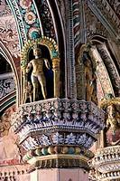 Detailed view of a pillar, Maratha Darbar Hall, Thanjavur Palace, Thanjavur, Tamil Nadu, India