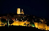 Buildings lit up at night, St. Paul de Vence, France