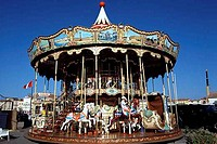 Low angle view of a carousel, St. Tropez, French Riviera, Provence_Alpes_Cote d´Azur, France