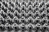 car spark plugs rows pattern mechanical engine pieces new