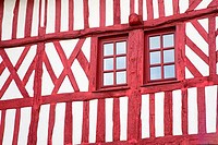 Low angle view of a Tudor style house, Honfleur, Calvados, Basse_Normandy, France