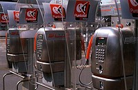 Telephones in a row, Italy