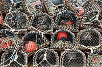 Stack of Lobster pots on Pier