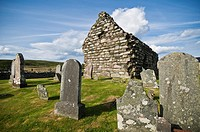 Stone ruin of Kilmory Knap chapel and cemetary at Kilmory, Argyll and Bute, Scotland