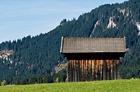 Small wooden barn with mountain in background, Tannheimer Tal, Tyrol, Austria
