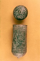 SITULA AND LID.Bronze sheet metal. From Luristan, Iran. 12th century.