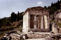GREECE: DELPHI.The Athenian Treasury of Parian marble, c490 B.C.