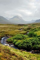 Isle of Skye, Inner Hebrides, Scotland, UK  Southeast down mountain stream across Sligachan toward the Cuillin Hills