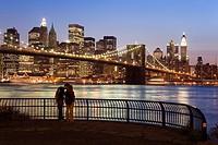 Brooklyn bridge and Downtown New York City, USA