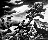 BENTON: BEFORE THE STORM.Running Before the Storm. Oil on canvas by Thomas Hart Benton.
