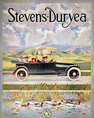 ALSTEVENS-DURYEA AD, 1914.Stevens-Duryea automobile advertisement from an American magazine, 1914.