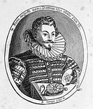 SIR JOHN HARINGTON(1561-1612). English courtier, writer and inventor of the modern water-closet. Line engraving, 1796.