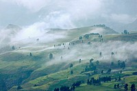 Landscape in the Simien Mountains National Park  Cloudscape ober the escaprment after a heavy thunderstorm during rainy season  The Simien Semien, Sae...