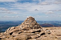 Route marking cairn at the summit of Cairn Gorm mountain, Cairngorms, Scotland