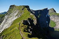 Mountain ridge of popular peak Reinebringen, Reine, Moskenesoya, Lofoten islands, Norway