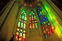 Spain, Catalonia, Barcelona, Sagrada familia Church, interior