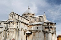 Detail of the Duomo in the Piazza dei Miracoli in the region of Tuscany, Pisa, Italy