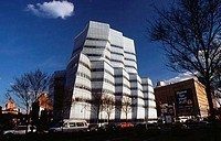 Low angle view of an office building, IAC Building, New York City, New York, USA