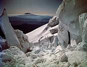 Climbers on a mountain, Forsythe Glacier, Mt St. Helens, Washington State, USA