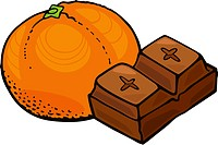 Orange and chocolate block