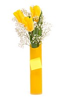 Bouquet from yellow tulips with note paper
