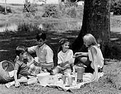Family with two children having picnic in park