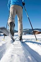 Man cross_country skiing, Tannheimer Tal, Tyrol, Austria