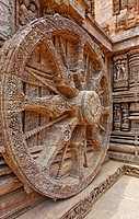 India - Orissa - Konark - sculpted chariot wheels at the Sun Temple