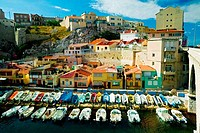 Boats at a harbor, Vallon des Auffes, Marseille, Bouches_du_Rhone, Provence_Alpes_Cote d´Azur, France