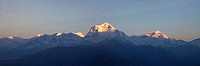 Sunlight falling on Dhaulagiri mountain viewed from Poon Hill, Himalayas, Nepal