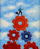 Illustration of a businessman standing on top of gears