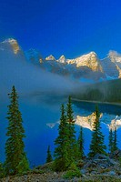 Reflection of a mountain range in a lake, Wenkchemna Range, Moraine Lake, Valley Of The Ten Peaks, Banff National Park, Alberta, Canada