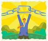 Illustration of a businessman holding a chain
