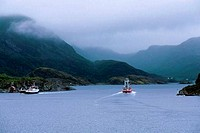 Norway, Near Stokksund, Fishing Boat Entering Narrow Passage