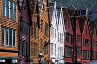 Norway, Bergen, Bryggen District With Historic Wooden Houses From Hanseatic Period